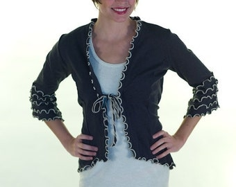 Short Ruffle Jacket Cotton/Spandex Knit with 3/4 Sleeves - Style #5582
