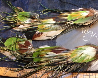 ARTEMIS,long chain with natural feather earrings, cruelty free feathers collected from happy pets
