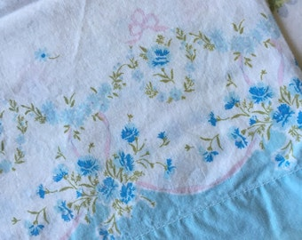 Vintage Feedsack Style Pillowcase Blue Floral Border Print