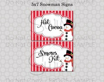 North Pole Snowman Hot Cocoa Bar S'mores Kit Printable signs - INSTANT DOWNLOAD