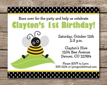 Bee Birthday Invitation, Bee Party Invitation, Bee Invitation, Bumblebee Invitation, Bumblebee Birthday, Bee Invite, PRINTABLE