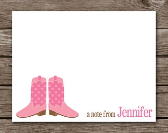 PRINTABLE Cowgirl Note Cards, Cowgirl Cards, Cowgirl Boots, Cowgirl Stationery, Personalized Note Cards