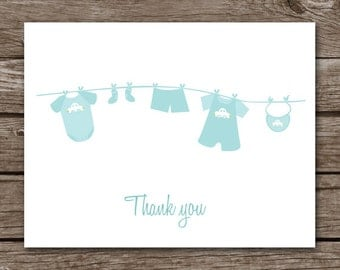 PRINTABLE Baby Note Cards, Baby Thank You Cards, Baby Shower Thank You, Baby Clothes, Clothesline, Personalized Cards,