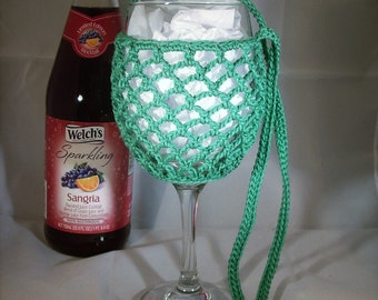 Wine Glass Holder Necklace sling lanyard cozy cooler crochet Green Ready To Ship