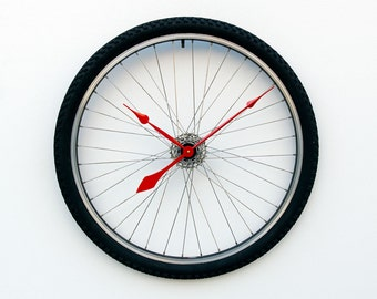 Recycled Bike Wheel and tire clock