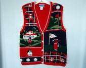 Pendleton Knitted Petite Clothing Womens Vest Charming Golfing Vest Christmas Gift Red Vest Gifts for Her Gifts for Golfer Gift Under 25