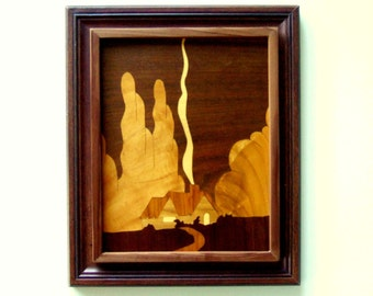 Framed Wood Art Marquetry Wall Hanging Housewarming Gift Wedding Gift Vintage Art Home Decor Office Decor Cool Office Gift