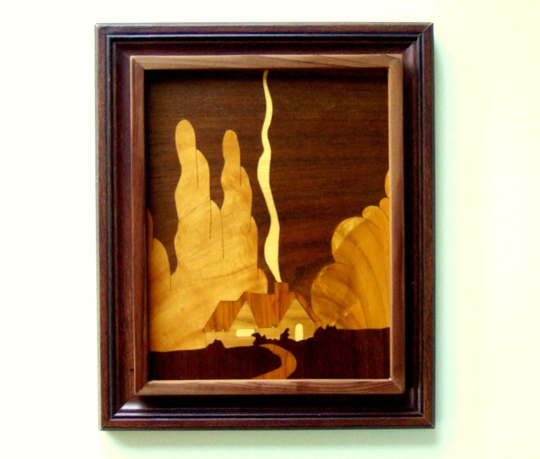 Wood Inlay Wall Decor : Framed wood art marquetry wall hanging housewarming gifts