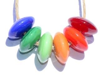 Rainbow Glass Disks (6) - Handmade Lampwork Glass Beads SRA