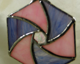 Stained Glass Pink and Purple Ornament Suncatcher