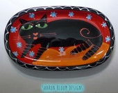 Black Cat Red Blue Stars Ceramic Mini Tray  Hand Painted from Sharon Bloom Designs