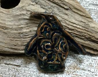 PENGUIN - Lovely Blues and Coppery Brown Glaze Penguin Pendant - Handmade Ceramic Pendant - #1