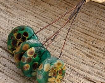 TRANSPARENT TEAL PETALS - Petal Handmade Lampwork Head Pins - 4 Headpins