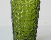 vintage vase green grapes and leaf design heavy antique retro flower vase