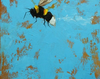 Bee painting 370 12x12 inch insect animal portrait original oil painting by Roz