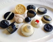 Vintage Celluloid Button Lot Cream Black Molded Plastic Shank Buttons, Sewing Supplies Art Deco Notions Craft Supplies Rhinestones