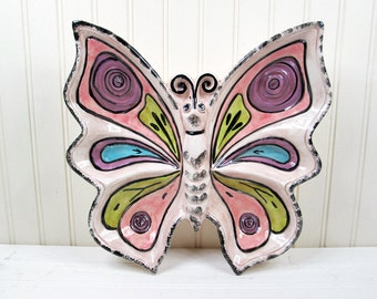 Vintage Butterfly Serving Tray Ceramic Pink Chip Veggie Relish Dish 70's Retro