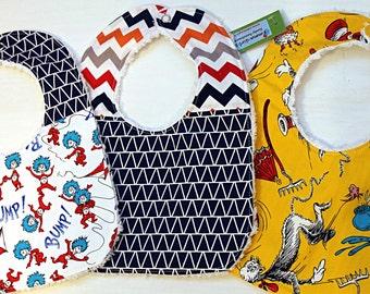 SALE SALE----  Dr. Seuss Bib (Set of Three)---Ready to ship--- Baby shower gift--- Birthday Gift--- New Mom Gift