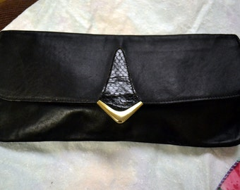 Vintage Black Leather Envelope Clutch Handbag Leather Purse 50's fashion