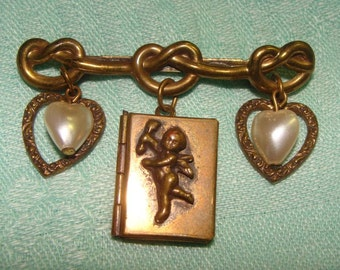 Adorable Vintage Valentine Cupid Book Locket Bar Pin w Love Knots, Puffy Hearts