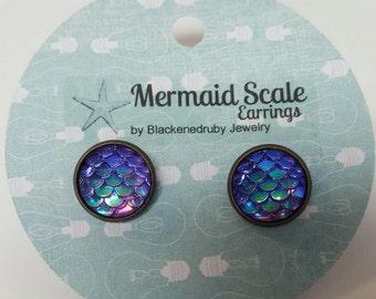 Mermaid Scale Earrings - Purple