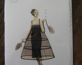 """Fashion illustration1920 Coco Chanel """" Black Tulle Evening Dress"""" note card"""