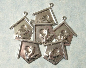 Silver Birdhouse Charms 6pcs Birdhouse Stampings, Scrapbooking Charms, Card Embellishments