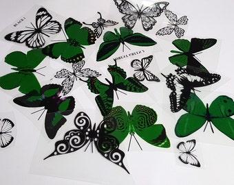 E16 Dark Green UNCUT Butterfly pack - 20 per pack - scrapbooking, card making, crafts