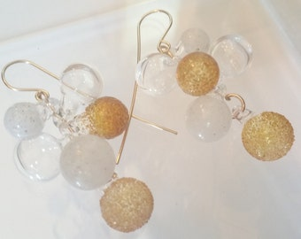 gold ,white,clear tiny bubble earrings