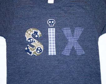 Boys 6th Birthday SIX Shirt - Size 6 heather navy short sleeve with SIX in skulls and plaids
