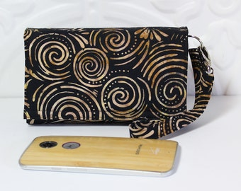 Cell Phone Wallet Wristlet, Crossbody Ready, Fits Most Smartphones, iPhone 6 6s Plus, Moto X Pure, Lg Galaxy Wallet / Tan Black Swirl Batik