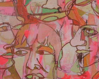 ORIGINAL 'Family Hero' 16x30in abstract portrait painting on wood by Jennifer Mercede