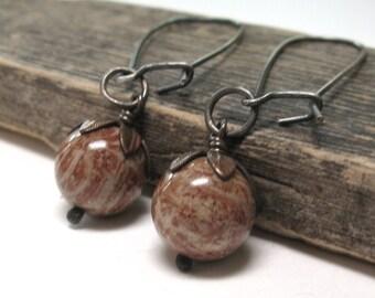 Rustic fall earrings, copper fall jewelry, sterling silver casual jewelry, pumpkin burnt orange, fossil coral drops, long earrings