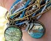 Custom Brass Map Charm Bangle Bracelet - Map Jewelry - State Love - Travel - Wanderlust - Hometown - Bridesmaid Gift - Stacked Bangle