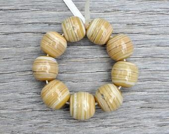 30% off - Silvered Honey - Lampwork beads by Loupiac