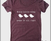 Three little birds American Apparel tee tshirt shirt Heathered vintage style screenprint ladies scoop top