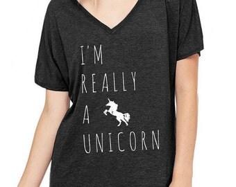 I'm really a Unicorn Oversized Slouchy V Neck Tee Loose tshirt shirt