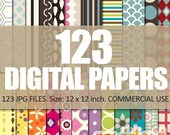 Digital papers / Digital Paper Bundle 123 papers / commercial use / instant download patterned papers
