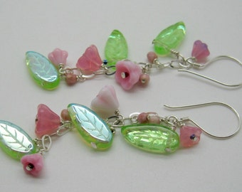 Pink Flowering Vine Earrings with Long green leaves