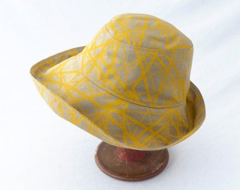 Womens Sunhat in Khaki Cotton with Mustard Yellow Fractal Lines - Summer Hat, Wide Brim, Cloche Sunhat, Travel Hat, Beach Hat, Cotton Sunhat