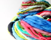 handspun yarn, soft wool, knitting crochet scarf yarn, bulky yarn, chunky crochet yarn, bright rainbow .. sweetest 5