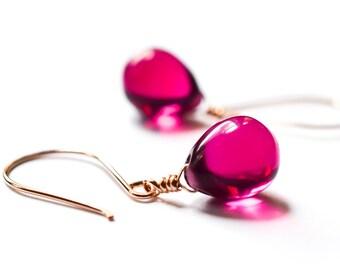 Rose gold earrings, rose gold jewelry, magenta glass earrings, raspberry drop earrings, berry stone earrings,Paka Ua Plump Berry