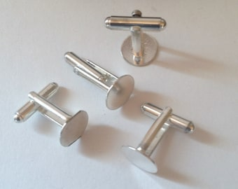 4 Quality Silver Cuffs Links with  Glue Pad, Glue Pad 12mm, Quality and Sturdy, USA, Ready To Ship
