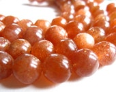 AAA Large Sunstone rounds semiprecious stone beads - 5 inches - 9mm