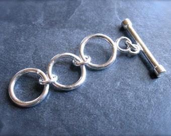 Adjustable Toggle Clasp -  Smooth and Plain Sterling Silver