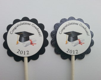 Personalized Graduation Cupcake Toppers (12)