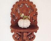 Vintage Folk Art Shelf, Folding Carved Wood Shelf