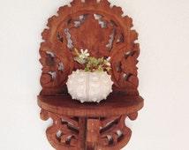 SALE,  Vintage Folk Art Shelf, Folding  Carved Wood Shelf