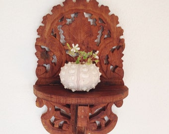 Vintage Folk Art Shelf, Folding Carved Wood Shelf
