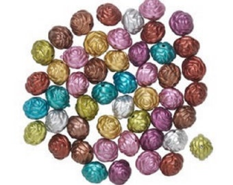 20mm Round Rose Acrylic Bead Mix, Mixed Colors, pack of 50